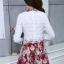ชุดเดรสสั้นสีแดง คอเชิ้ต แขนยาว กระโปรงลายดอกไม้ S M L XL thumbnail 5