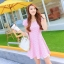 ชุดเดรสทำงานสีชมพูแนวหวานน่ารักๆ สีชมพูลายจุด แขนสั้น กระโปรงบาน thumbnail 3