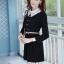ชุดทำงานสวยๆ ชุดเดรสสั้น สีดำ คอปก แขนยาว ให้ลุคสาวหวานสไตล์เกาหลี สวยหรู ดูดี ( S M L ) thumbnail 7