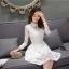 ชุดเดรสออกงาน ไปงานแต่งงานสีขาว ผ้าลูกไม้ คอแต่งระบาย แขนยาว แนวเกาหลี เรียบร้อยสวยหวาน thumbnail 7