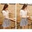 ชุดเดรสแฟชั่นเกาหลี ชุดเดรสน่ารัก ชุดเชตแฟชั่นน่ารัก ๆ ชุดเชตเสื้อสีขาว + กระโปรงสั้นลายดอกไม้ ( M, L, XL ) thumbnail 6