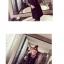 ชุดแฟชั่นเกาหลีน่ารักๆ สีดำ เสื้อลายขวางแขนยาว + เดรสสั้นแขนกุดทรงตรง thumbnail 4