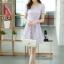 ชุดเดรสลูกไม้สีม่วง คอกลม แขนสั้น แนวเกาหลี สวยหวาน น่ารักๆ thumbnail 6