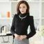 เสื้อทำงานแฟชั่นเกาหลี สีดำ คอเต๋า แขนยาว ผ้าชีฟอง+ลูกไม้ , M L XL thumbnail 1