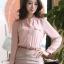 เสื้อทำงานแฟชั่นสไตล์เกาหลีสวยๆ เสื้อแขนยาวสีชมพู คอจีน กระดุมผ่าหน้า ผ้าชีฟองเนื้อผ้าบางเบาใส่สบาย thumbnail 1