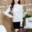 เสื้อทำงานแฟชั่นเกาหลี เรียบหรู ดูดี เสื้อเชิ้ตทำงานสีขาว คอปก แขนยาว ผ้าชีฟอง แต่งลายดอกไม้ , S M L XL thumbnail 7
