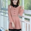 ชุดทำงานสวยๆ ชุดเดรสสั้น สีชมพู คอปก แขนยาว ให้ลุคสาวหวานสไตล์เกาหลี สวยหรู ดูดี ( S M L ) thumbnail 4