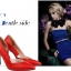 """รองเท้าส้นสูง ส้นแหลม หนังเรียบ สไตล์เกาหลี """"ทรง ZARA"""" สี แดง - ดำ (Pre) thumbnail 5"""