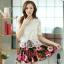 ชุดเดรสสั้นลายดอกไม้ เสื้อผ้าลูกไม้สีขาว เย็บต่อด้วยกระโปรงสั้นลายดอกไม้ เป็นชุดเดรสแฟชั่นน่ารักๆ สไตล์เกาหลี ( S,M,L,XL,) thumbnail 1