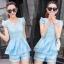 ชุดเซ็ทสองชิ้นเข้าชุดสีฟ้า สวยหรู ดูดี แฟชั่นสไตล์เกาหลี thumbnail 4
