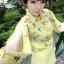 ชุดเซตเสื้อกางเกงสีเหลือง เสื้อแขนยาวผ่าแขนลายดอกไม้ + กางเกงขาสั้น thumbnail 1
