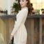 ชุดเดรสสั้นแฟชั่นเกาหลี มินิเดรสสั้นสีเบจ คอปักมุก แขนยาว เป็นชุดเดรสสวยๆ แนวหวานน่ารัก เรียบร้อย ดูดี สามารถใส่ออกงานได้ ( M L XL ) thumbnail 4