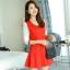 ชุดเดรสสั้นสีแดง เรียบร้อยน่ารัก สดใส แขนสามส่วน กระโปรงทรงบานปลายสวยเก๋ thumbnail 1