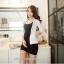 ชุดเดรสเสื้อกรามสั้น สีดำ - สีเทา ไซส์ M thumbnail 9