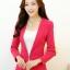 เสื้อสูททำงานผู้หญิง สีชมพู แขนยาว คอปก เอวเข้ารูป , thumbnail 1