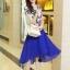 ชุดเดรสสั้นสีน้ำเงิน แขนสั้น ตัวเสื้อสีขาวพิมพ์ลายสีน้ำเงิน ผ้าชีฟอง กระโปรงบานพริ้ว thumbnail 2