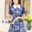 ชุดเดรสสั้นแฟชั่นเกาหลี สีน้ำเงิน พิมพ์ลายดอกไม้ คอปก แขนสั้น เป็นชุดเดรสแนวหวานน่ารัก เรียบร้อย ดูดี ( S M L XL ) thumbnail 4