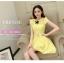 ชุดเดรสแฟชั่นเกาหลี ชุดเดรสน่ารัก ชุเดรสสั้น ผ้าโพลีเอสเตอร์ คอกลม แขนสั้น แต่งโบว์ เอวเข้ารูป กระโปรงบาน ( M,L,XL ) thumbnail 7