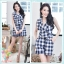 Navy Checked Jumpsuit thumbnail 1