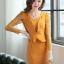 ชุดทำงานออฟฟิศแฟชันเกาหลี ชุดเดรสสั้นเข้ารูปสีเหลือง คอกลม แขนยาวลูกไม้ซีทรู เอวแต่งระบายจับจีบเก๋ๆ ,S M L thumbnail 5
