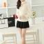 เสื้อทำงานแฟชั่นเกาหลี สีเบจ คอเต๋า แขนยาว ผ้าชีฟอง+ลูกไม้ , M L XL thumbnail 2