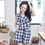 Navy Checked Jumpsuit thumbnail 9