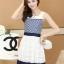ชุดทำงานแฟชั่นเกาหลี มินิเดรสสวยๆ เดรสสั้นแขนกุด กระโปรงผ้าแก้ว สีกรมท่า ( S M L XL ) thumbnail 5