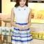 ชุดออกงานสวยๆแฟชั่นเกาหลี สีน้ำเงิน ผ้าลูกไม้ เหมาะกับการใส่ทำงาน หรือจะใส่ออกงาน ไปงานแต่งงานก็ได้ จะให้ลุคที่สวยสง่า thumbnail 6
