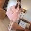 ชุดเดรสสั้นใส่ออกงาน แฟชั่นเกาหลี มินิเดรสกระโปรงสั้น สีชมพู ลำตัวผ้าลูกไม้ แขนผ้าชีฟอง พร้อมเข็มขัด ( M L XL ) thumbnail 2