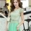 ชุดเดรสยาวสวยๆ สีเขียว เสื้อผ้าลูกไม้อย่างดีเย็บต่อด้วยกระโปรงผ้าชีฟอง ใส่ไปงานแต่งงาน ออกงานเลี้ยง ให้ลุคสวยหรู ดูดี S M L XL thumbnail 11