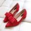 รองเท้า ส้นเตี้ย หัวแหลม แบบใหม่ สไตส์เกาหลี สี ดำ-เทา-แดง ไซส์ 35-39 ( Pre ) thumbnail 7