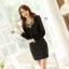 เสื้อทำงานแฟชั่นเกาหลี เสื้อชีฟองใส่ทำงาน สีดำ คอปักเลื่อมเก๋ๆ แขนยาว ด้านหน้าผ้าชีฟอง ด้านหลังผ้ายืด