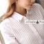 เสื้อเชิ้ตทำงานสีขาว ผ้าชีฟอง คอปกแต่งคริสตรัสน่ารักๆ ด้านหน้าแต่งเป็นลายทางตรง แขนยาว กระดุมผ่าหน้า thumbnail 10