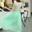 ชุดเดรสยาวสวยๆ สีเขียว เสื้อผ้าลูกไม้อย่างดีเย็บต่อด้วยกระโปรงผ้าชีฟอง ใส่ไปงานแต่งงาน ออกงานเลี้ยง ให้ลุคสวยหรู ดูดี S M L XL thumbnail 8