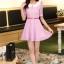 ชุดทำงานแฟชั่นเกาหลี มินิเดรสสวยๆ ชุดประโปรงสั้น คอปก แขนสั้น ผ้า organza สีม่วง ( S M L XL ) thumbnail 2