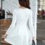 ชุดเดรสทำงานสวยๆ สีขาว ชุดแซกกระโปรงสั้น คอกลม แขนยาว เนื้อผ้าดี ,S M L XL thumbnail 6
