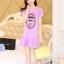 ชุดเดรสสั้นแฟชั่นเกาหลี มินิเดรสสีม่วง พิมพ์ลายหน้าผู้หญิงเก๋ๆ เป็นชุดเดรสลำลองให้ลุคสวยหวาน น่ารัก thumbnail 3