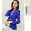 เสื้อสูททำงานผู้หญิงสีน้ำเงิน คอปก แขนยาว ดีเทลด้านหลังยาวกว่าด้านหน้าเป็นแบบระบายช่วงอำพรางสะโพกได้ดี