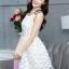 ชุดเดรสน่ารักแฟชั่นเกาหลี เดรสสั้นสีขาว ปักลายดอกไม้ คอกลม แขนกุด เอวเข้ารูป กระโปรงทรงสุ่ม S M L XL thumbnail 8