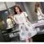 ชุดเดรสสีขาวกระโปรงลายใบไม้สีเขียว แขนกุด แนวเกาหลี ลุคสาวสวยหวานน่ารัก ดูสดใส thumbnail 3