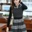 ชุดทำงานออฟฟิศ คุณครู ราชการ ชุดแซกกระโปรงสั้น ลายตาราง สีดำ แขนยาว ชุดเดรสสวยหวาน น่ารัก แฟชั่นสไตล์เกาหลี ( M,L,XL) thumbnail 7