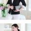 เสื้อสูททำงานผู้หญิงสีดำ แขนยาว ปลายแขนแถบสีขาว ทรงสวย ลุคเรียบๆ สวย ดูดี เรียบร้อย thumbnail 3