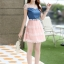ชุดเดรสสั้นแฟชั่นเกาหลี สีชมพู เสื้อแต่งเป็นผ้ายีนส์เย็บต่อด้วยกระโปรงผ้าแก้ว เป็นชุดเดรสแนวหวานน่ารัก สวย เรียบร้อย ดูดี ( S M L XL ) thumbnail 5
