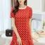ชุดเดรสสั้นสีแดง แนวเกาหลีสวยๆ น่ารักสดใส