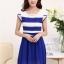 ชุดเดรสทำงานสวยๆ ชุดเดรสสั้น สีน้ำเงิน ผ้าชีฟอง เนื้อผ้าดี ( S M L XL ) thumbnail 4
