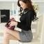 เสื้อทำงานแฟชั่นเกาหลี สีดำ คอเต๋า แขนยาว ผ้าชีฟอง+ลูกไม้ , M L XL thumbnail 7