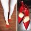 """รองเท้าส้นสูง ส้นแหลม หนังเรียบ สไตล์เกาหลี """"ทรง ZARA"""" สี แดง - ดำ (Pre) thumbnail 4"""