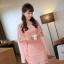 ชุดเดรสสั้นใส่ออกงาน แฟชั่นเกาหลี มินิเดรสกระโปรงสั้น สีชมพู ลำตัวผ้าลูกไม้ แขนผ้าชีฟอง พร้อมเข็มขัด ( M L XL ) thumbnail 4