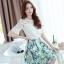 ชุดเซ็ท 2 ชิ้น เสื้อสีขาวแขนสามส่วน คู่กระโปรงพิมพ์ลายดอกไม้น่ารักๆ สีฟ้า thumbnail 10