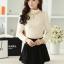 เสื้อทำงานแฟชั่นเกาหลี สีเบจ คอเต๋า แขนยาว ผ้าชีฟอง+ลูกไม้ , M L XL thumbnail 7